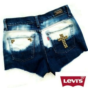 Levi's 512 High Rise Upcycle Cross Studded Shorts